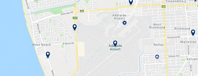Accommodation in West Beach - Click on the map to see all available accommodation in this area