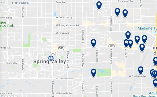 Accommodation in West of Las Vegas Strip - Click on the map to see all available accommodation in this area