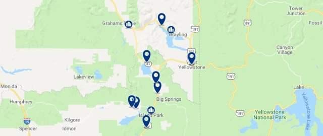 Alojamiento en Yellowstone West - Haz clic para ver todo el alojamiento disponible en esta zona