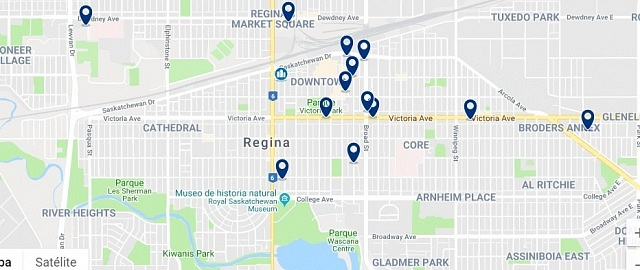 Accommodation in Downtown Regina - Click on the map to see all available accommodation in this area