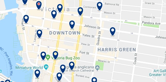 Accommodation in Downtown Victoria - Click on the map to see all available accommodation in the area