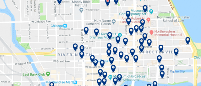 Accommodation in River North & Magnificent Mile - Click on the map to see all available accommodation in this area