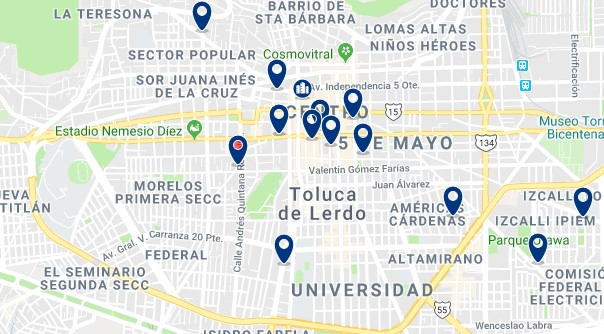 Accommodation in Toluca City Center - Click on the map to see all available accommodation in this area