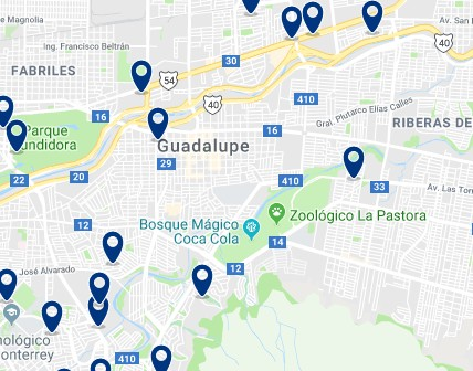 Accommodation in Guadalupe – Click on the map to see all available accommodation in this area