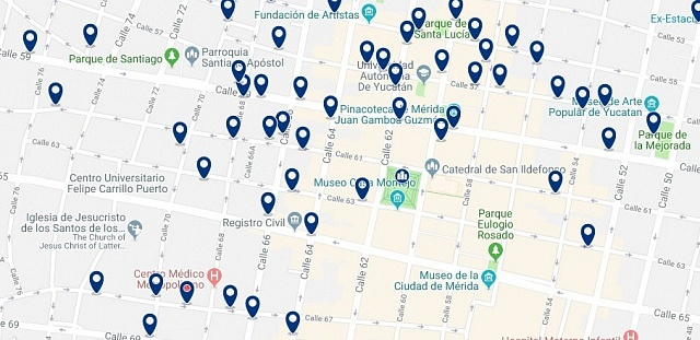 Accommodation in Merida City Center - Click on the map to see all accommodation in this area