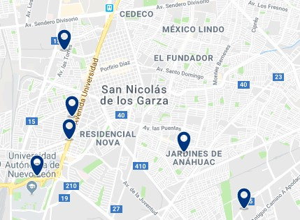 Accommodation in San Nicolás de los Garza – Click on the map to see all available accommodation in this area