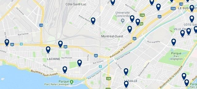 Alojamiento en Lachine – Clica sobre el mapa para ver todo el alojamiento en esta zona