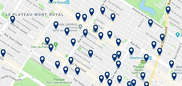 Alojamiento en Plateau Mont Royal – Click on the map to see all accommodation in this area