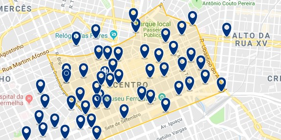 Accommodation in Curitiba City Center - Click on the map to see all available accommodation in this are