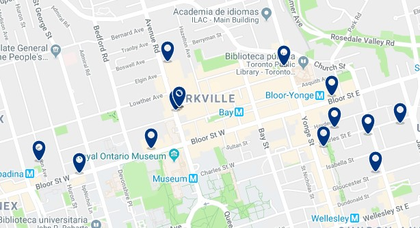 Accommodation in Bloor - Yorkville - Click on the map to see all available accommodation in this area