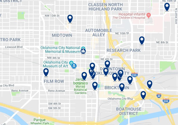 Alojamiento en Downtown Oklahoma City - Haz clic para ver todo el alojamiento disponible en esta zona
