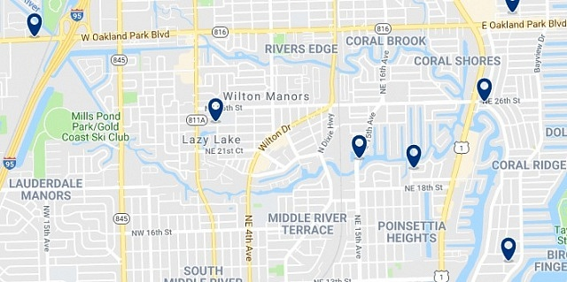 Accommodation in Wilton Manors  - Click on the map to see all available accommodation in this area