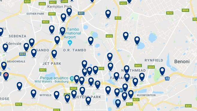 Alojamiento cerca del aeropuerto OR Tambo - Clica sobre el mapa para ver todo el alojamiento en esta zona