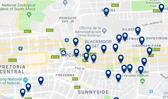 Accommodation in Arcadia - Click on the map to see all available accommodation in this area