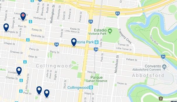 Alojamiento en Collingwood - Clica sobre el mapa para ver todo el alojamiento en esta zona