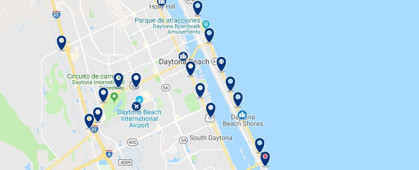 Alojamiento en Daytona Beach Shores - Haz clic para ver todo el alojamiento disponible en esta zona
