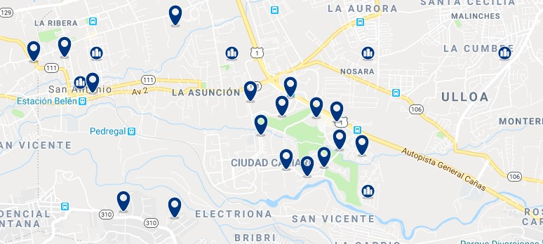 Accommodation in La Asunción - Click on the map to see all accommodation in this area