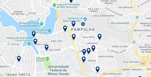 Accommodation in Pampulha - Click on the map to see all available accommodation in this area