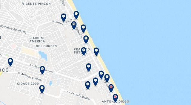 Accommodation in Praia do Futuro - Click on the map to see all available accommodation in this area