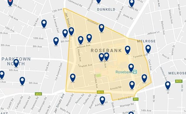 Alojamiento en Rosebank - Clica sobre el mapa para ver todo el alojamiento en esta zona