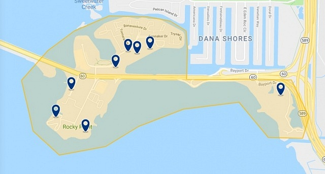 Accommodation in Tampa Bay - Click on the map to see all available accommodation in this area