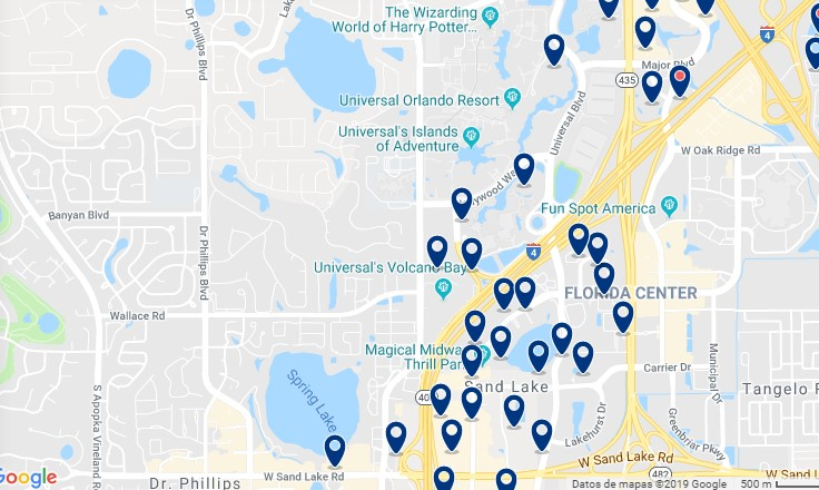 Accommodation near Universal Studios & The Wizarding World of Harry Potter - Click on the map to see all available accommodation in this area