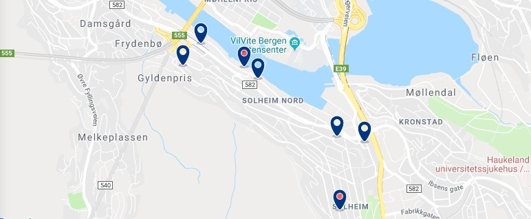Accommodation in Årstad - Click to see all available accommodation on a map