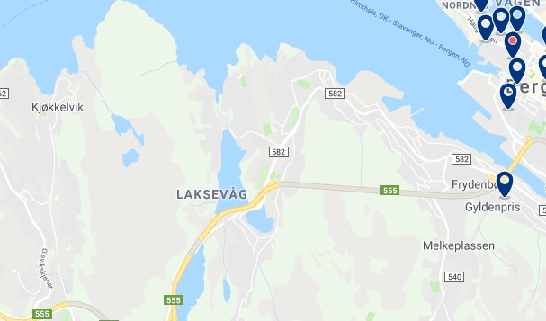 Accommodation in Laksevåg - Click to see all available accommodation on a map