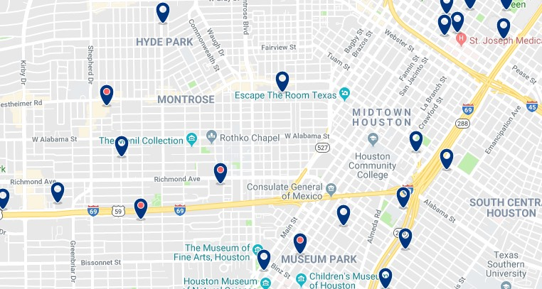 Alojamiento en el Midtown de Houston - Haz clic para ver todos el alojamiento disponible en esta zona