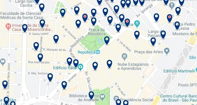 Alojamiento en Centro São Paulo - Clica sobre el mapa para ver todo el alojamiento en esta zona