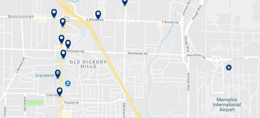 Alojamiento cerca de Graceland - Haz clic para ver todos el alojamiento disponible en esta zona
