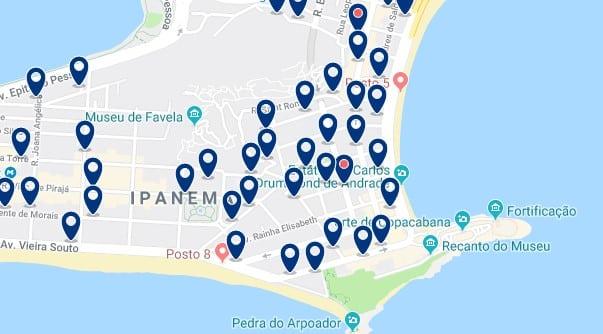 Alojamiento en Ipanema - Clica sobre el mapa para ver todo el alojamiento en esta zona