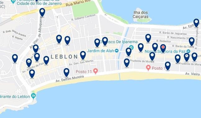 Alojamiento en Leblon - Clica sobre el mapa para ver todo el alojamiento en esta zona
