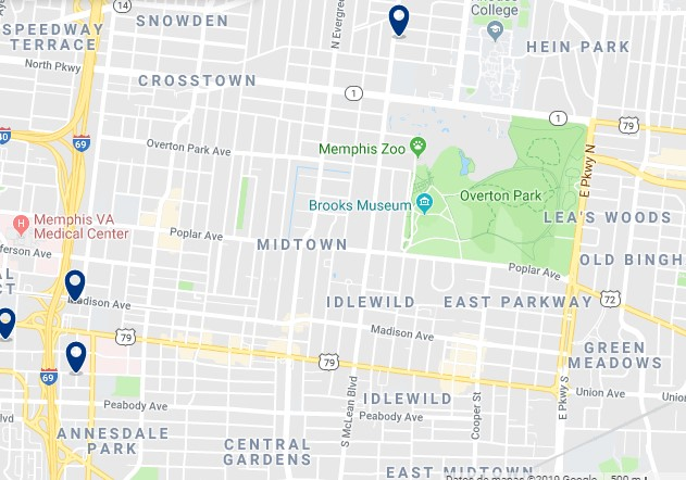 Accommodation in Midtown Memphis - Click on the map to see all accommodation in this area