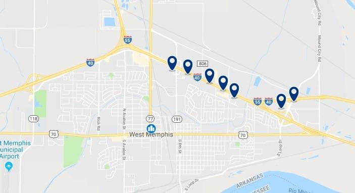 Alojamiento en West Memphis - Haz clic para ver todos el alojamiento disponible en esta zona