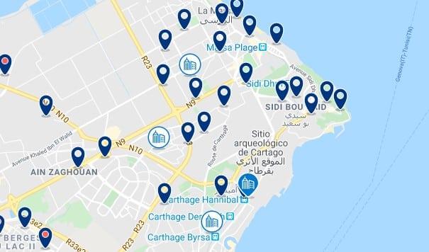 Alojamiento en Cartago - Clica sobre el mapa para ver todo el alojamiento en esta zona