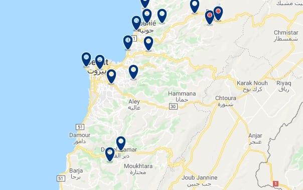 Alojamiento en Raouche - Clica sobre el mapa para ver todo el alojamiento en esta zona