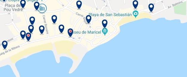 Alojamiento en la Costa de Sitges - Clica sobre el mapa para ver todo el alojamiento en esta zona