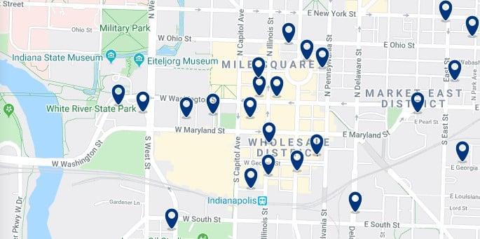 Alojamiento en Downtown Indianápolis - Clica sobre el mapa para ver todo el alojamiento en esta zona