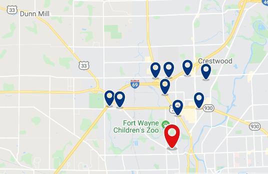 Alojamiento al Norte de la ciudad (cerca del Fort Wayne Children's Zoo y el mall Glenbrook Square) - Haz clic para ver todo el alojamiento disponible en esta zona