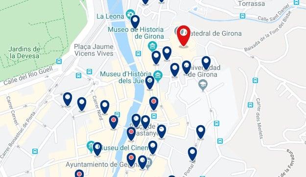 Alojamiento cerca de la Catedral de Girona - Clica sobre el mapa para ver todo el alojamiento en esta zona