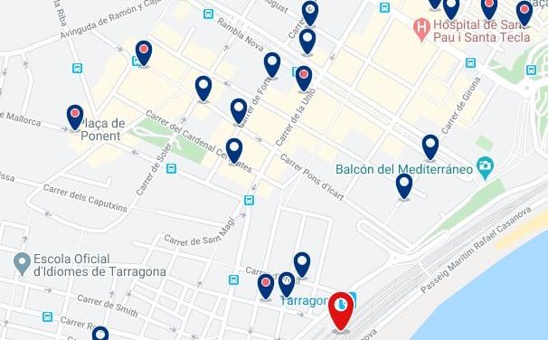 Alojamiento cerca de la Estación Central de Tarragona - Clica sobre el mapa para ver todo el alojamiento en esta zona