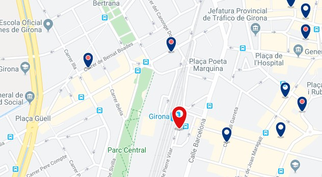 Alojamiento cerca de la estación de AVE de Girona - Clica sobre el mapa para ver todo el alojamiento en esta zona