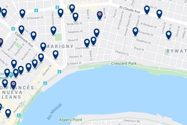 Alojamiento en Faubourg Marigny - Clica sobre el mapa para ver todo el alojamiento en esta zona