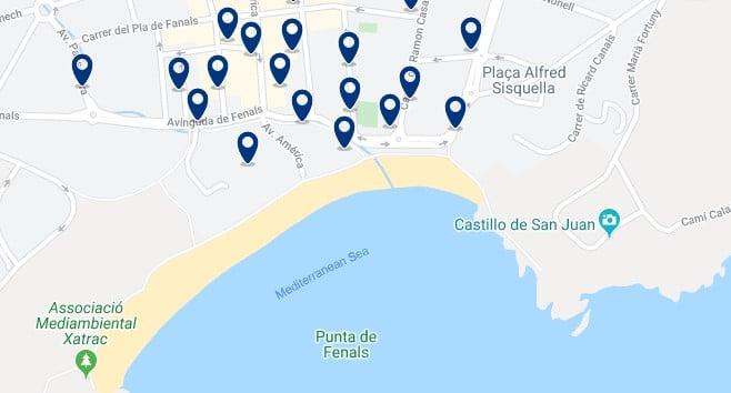 Alojamiento en Platja de Fenals - Clica sobre el mapa para ver todo el alojamiento en esta zona