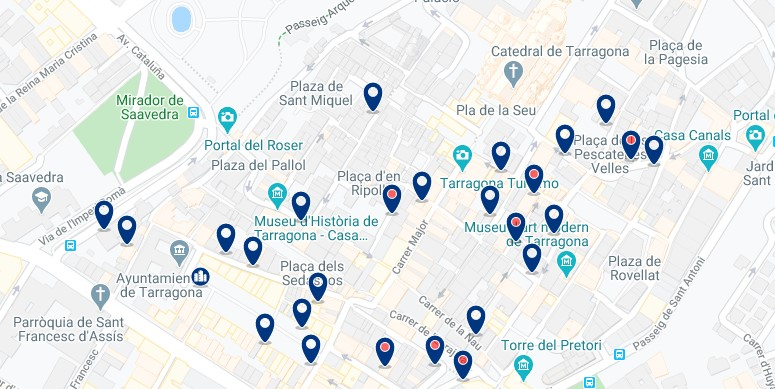 Alojamiento en el Centro Histórico de Tarragona - Clica sobre el mapa para ver todo el alojamiento en esta zona