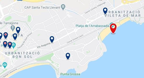 Alojamiento en la Platja de l'Arrabassada - Clica sobre el mapa para ver todo el alojamiento en esta zona