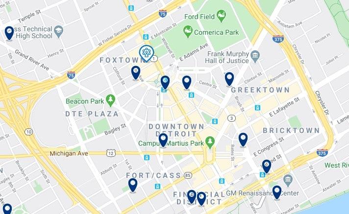 Alojamiento en Downtown Detroit - Clica sobre el mapa para ver todo el alojamiento en esta zona