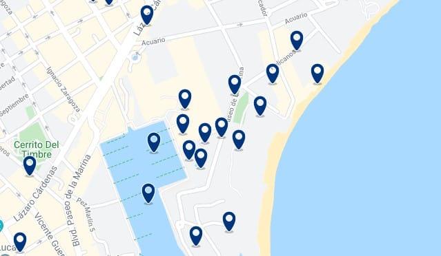 Alojamiento en Playa El Médano - Clica sobre el mapa para ver todo el alojamiento en esta zona