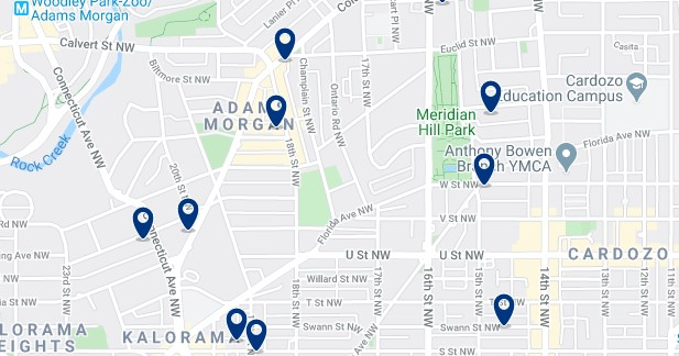 Accommodation in Adams Morgan - Click on the map to see all available accommodation in this area